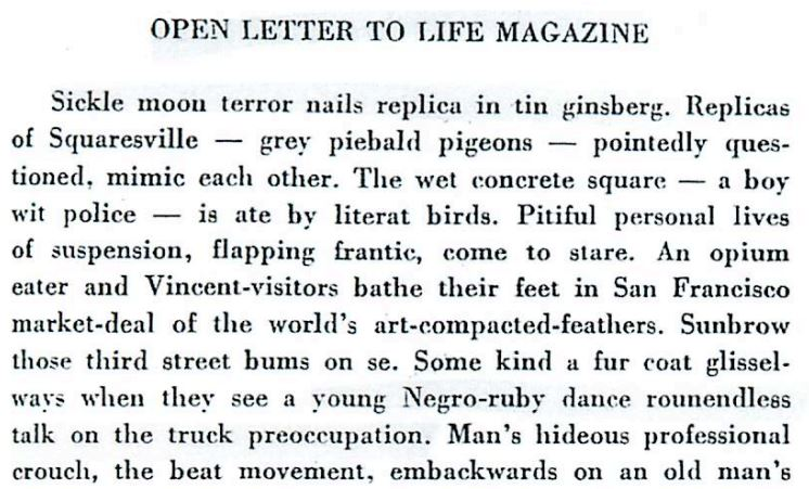 Cut up Open Letter to Life Magazine, from Minutes to Go