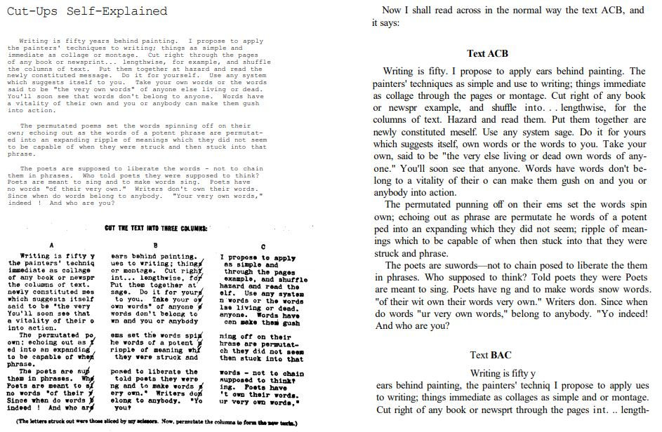 Cut-Ups Self-Explained from The Third Mind book 1978